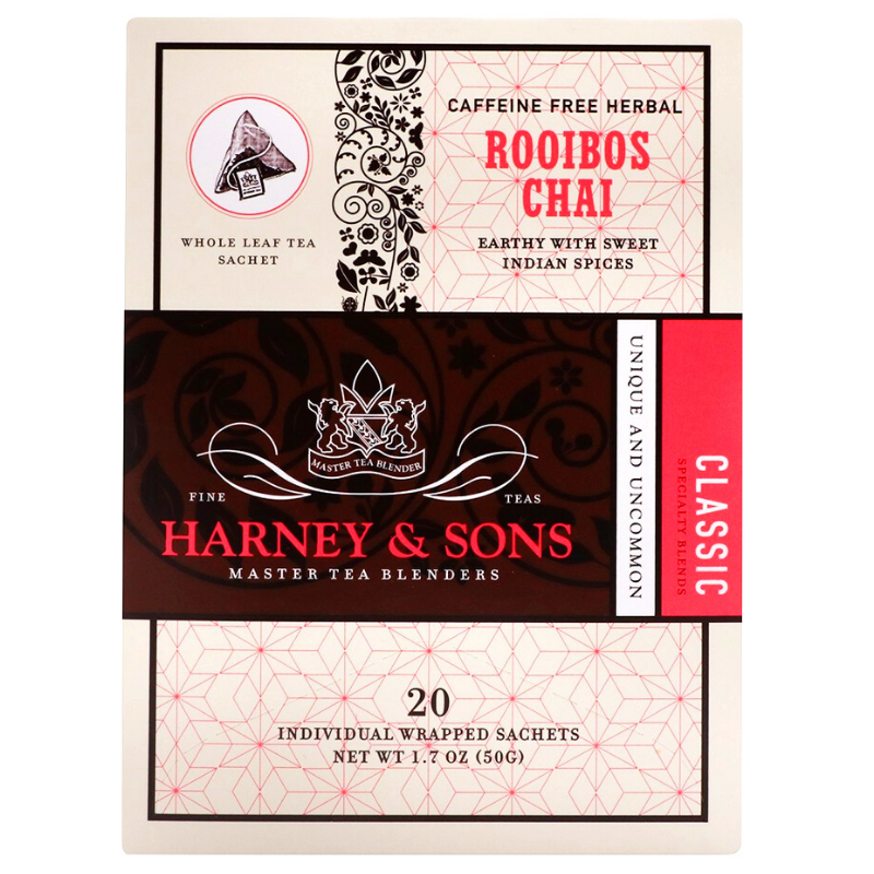 Té Robois Chai sin cafeína, Harney & Sons, Caja con 6 paquetes, 20 sobres por paquete.