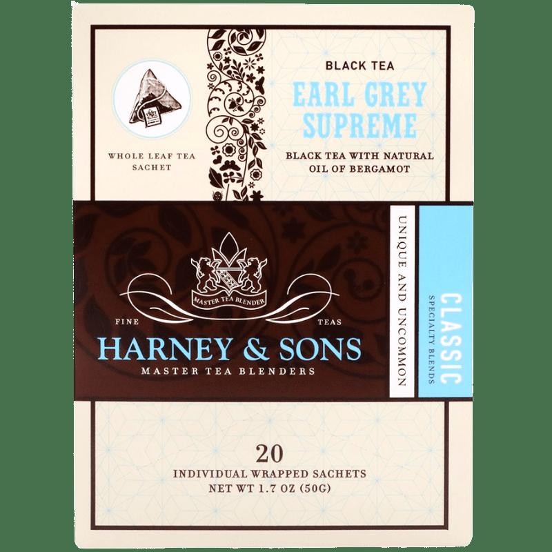 Té Negro Earl Grey, Harney & Sons, Caja con 6 paquetes, 20 sobres por paquete.